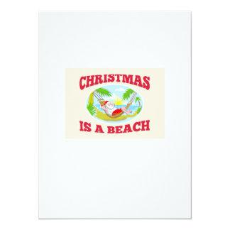 "Santa Claus Father Christmas Beach Relaxing 5.5"" X 7.5"" Invitation Card"