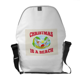 Santa Claus Father Christmas Beach Relaxing Courier Bags