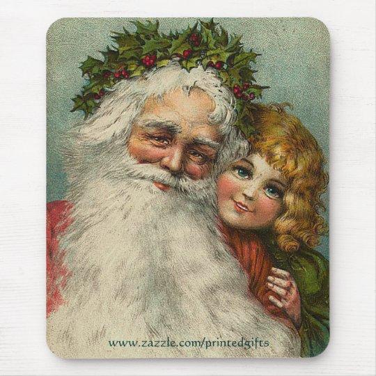 Santa Claus Father Christmas & Girl Mousepad Gift