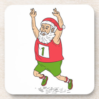 Santa Claus Father Christmas Running Marathon Cart Beverage Coaster
