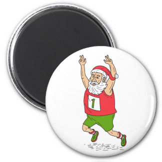 Santa Claus Father Christmas Running Marathon Cart Magnet