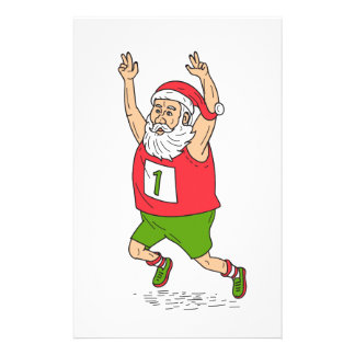 Santa Claus Father Christmas Running Marathon Cart Stationery