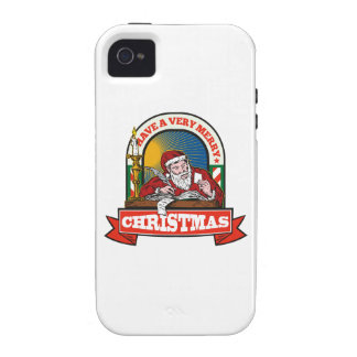 Santa Claus Father Christmas Writing Letter Vibe iPhone 4 Cover