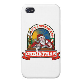 Santa Claus Father Christmas Writing Letter iPhone 4 Cases