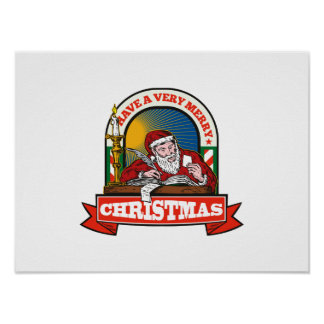 Santa Claus Father Christmas Writing Letter Posters