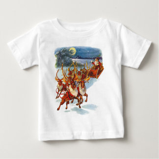 Santa Claus Flying With His Reindeer Guided Sleigh Baby T-Shirt