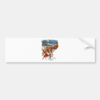 Santa Claus Flying With His Reindeer Guided Sleigh Bumper Sticker