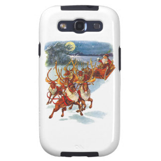 Santa Claus Flying With His Reindeer Guided Sleigh Samsung Galaxy S3 Covers