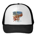 Santa Claus Flying With His Reindeer Guided Sleigh Mesh Hats