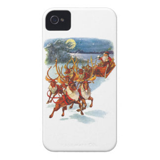 Santa Claus Flying With His Reindeer Guided Sleigh iPhone 4 Case-Mate Case