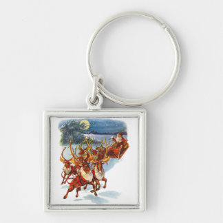Santa Claus Flying With His Reindeer Guided Sleigh Keychain