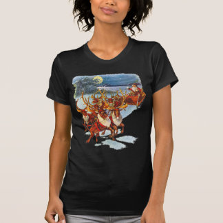 Santa Claus Flying With His Reindeer Guided Sleigh T-Shirt