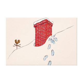 Santa Claus Footprints Chimney Snow Weathervane Canvas Print