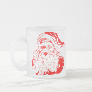 Santa Claus Frosted Glass Mug for Christmas Gift