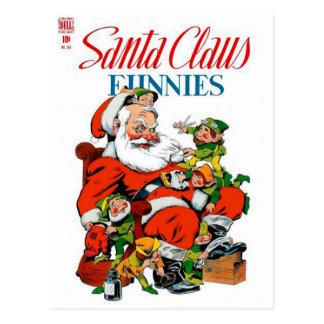 Santa Claus Funnies - Elf Grooming Postcard