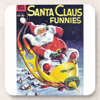 Santa Claus Funnies - Rocket Sled Beverage Coaster