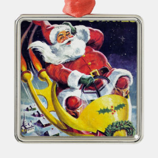 Santa Claus Funnies - Rocket Sled Metal Ornament