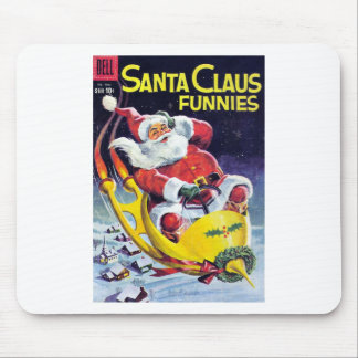 Santa Claus Funnies - Rocket Sled Mouse Pad