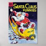 Santa Claus Funnies - Rocket Sled Poster