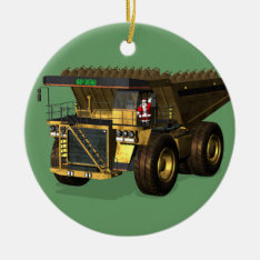 Santa Claus Giant  Dump Truck Driver Ceramic Ornament at Zazzle