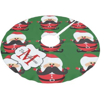 Santa Claus Giant Mustache Monogrammed Brushed Polyester Tree Skirt