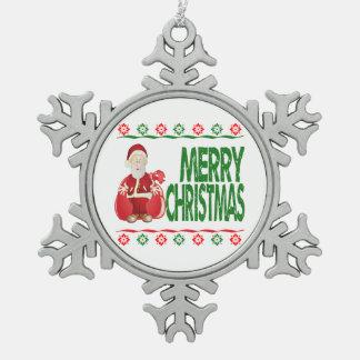 Santa Claus Gift Bag Ugly Xmas Sweater Ornament Ornament