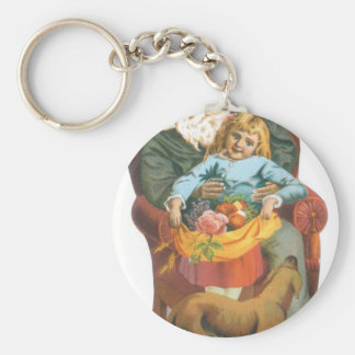 Santa Claus, Girl and Dog Keychain