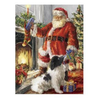 Santa Claus Giving Gift To Dog Postcard