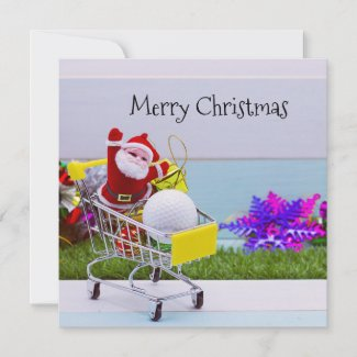 Santa Claus go Christmas shopping for golfer Holiday Card