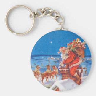 Santa Claus Goes Down the Chimney Basic Round Button Keychain