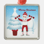 Santa Claus goes to the gym Square Metal Christmas Ornament