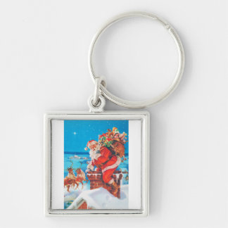 Santa Claus Going Down the Chimney Silver-Colored Square Keychain