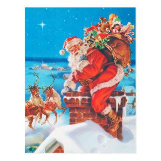 Santa Claus Going Down the Chimney Postcard