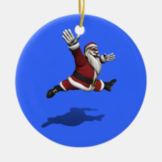 Santa Claus Grand Jete Ceramic Ornament