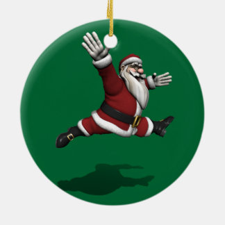 Santa Claus Grand Jete Double-Sided Ceramic Round Christmas Ornament