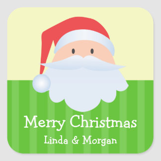 Santa Claus green stripes Merry Christmas gift tag Square Stickers