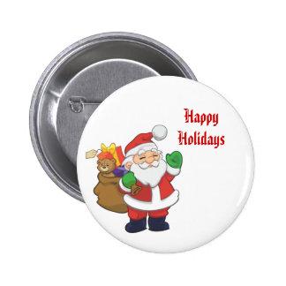 Santa Claus Happy Holidays Pinback Button