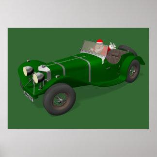 Santa Claus Happy Jaguar SS 90 Driver Poster