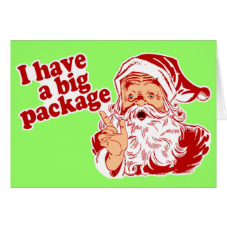 Santa Claus has a big package Greeting Cards