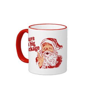 Santa Claus Has a Big Package Ringer Coffee Mug
