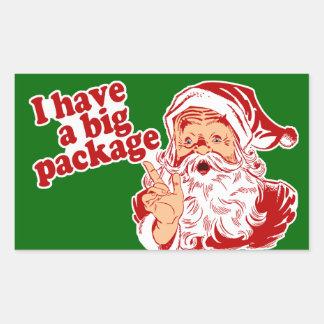 Santa Claus has a big package Rectangular Sticker