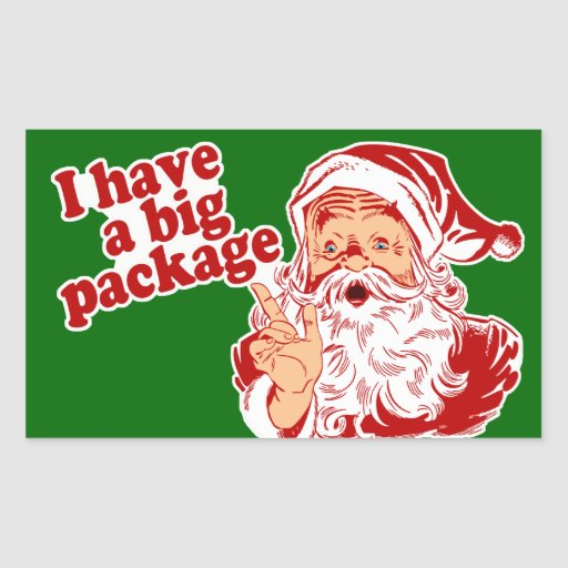 Santa Claus has a big package Rectangle Stickers