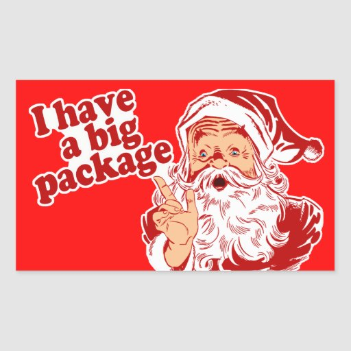 Santa Claus has a big package Rectangular Stickers