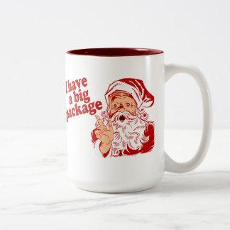 Santa Claus has a big package Two-Tone Coffee Mug