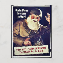 Santa Claus Has Gone To War Holiday Postcard