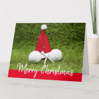 Santa Claus Hat with golf ball and tee Christmas Card
