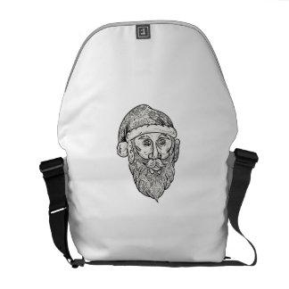 Santa Claus Head Mandala Courier Bag