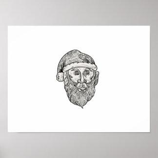 Santa Claus Head Mandala Poster