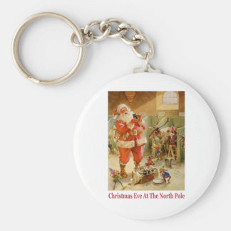 Santa Claus & His Elves in The North Pole Stables Keychain