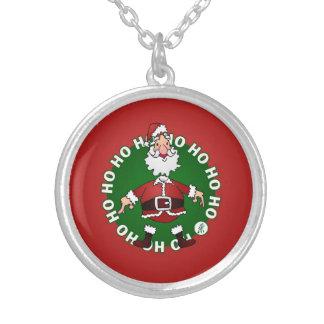 Santa Claus Ho Ho Ho Silver Plated Necklace